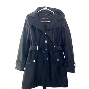Black Calvin Klein hooded trench coat small belt